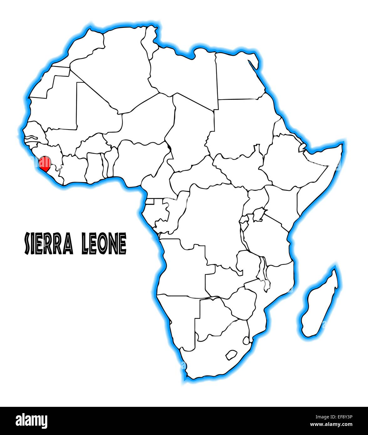 Sierra Leone outline inset into a map of Africa over a white Stock