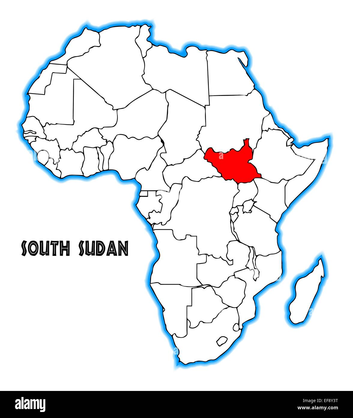 sudan map in africa South Sudan Outline Inset Into A Map Of Africa Over A White Stock sudan map in africa