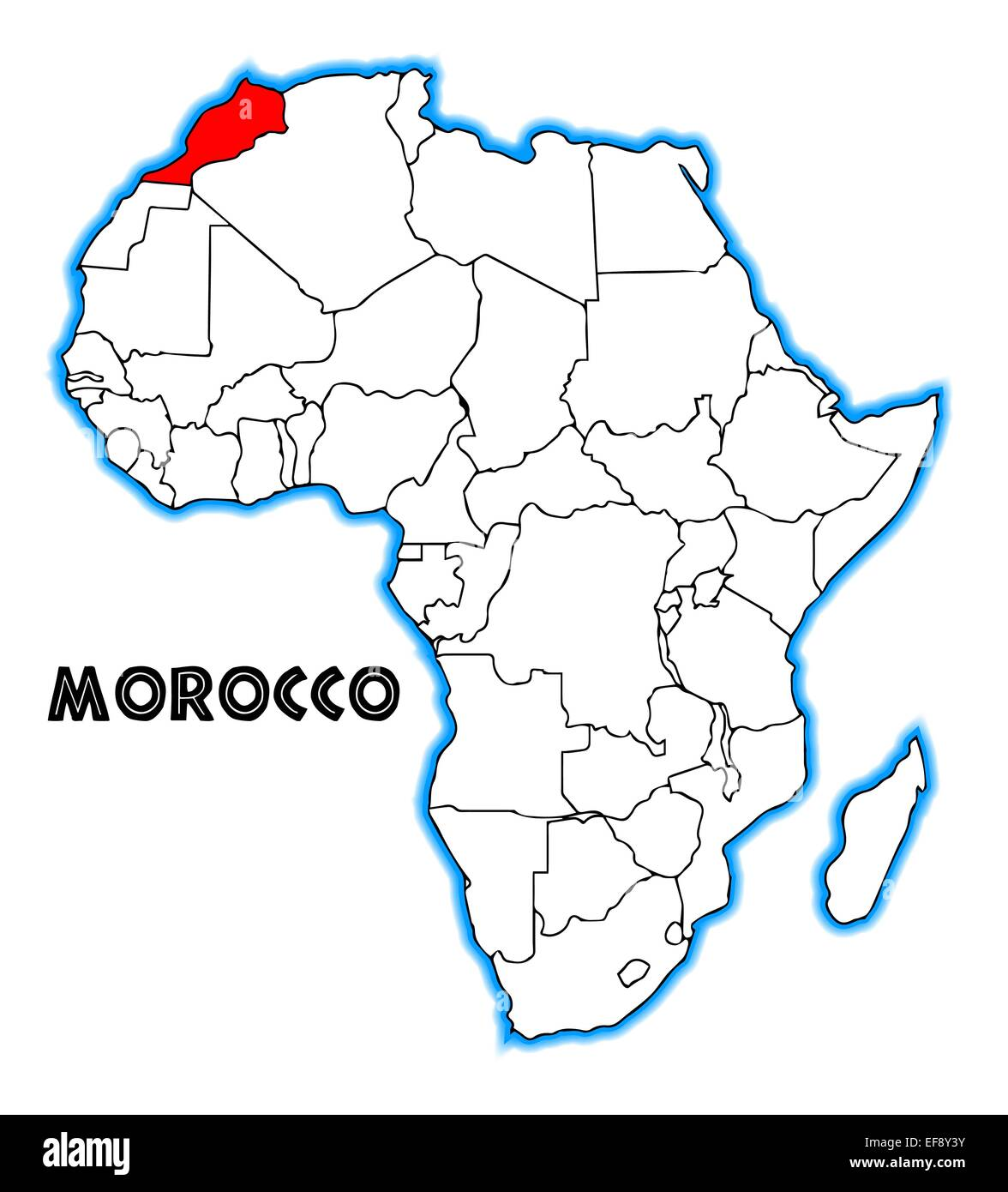 Morocco outline inset into a map of Africa over a white background