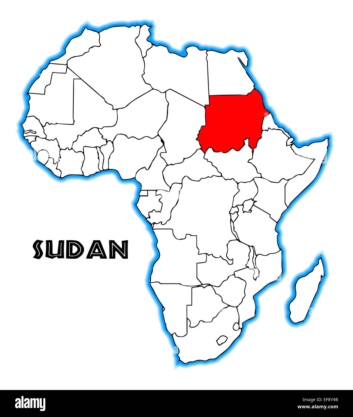 Sudan outline inset into a map of Africa over a white background
