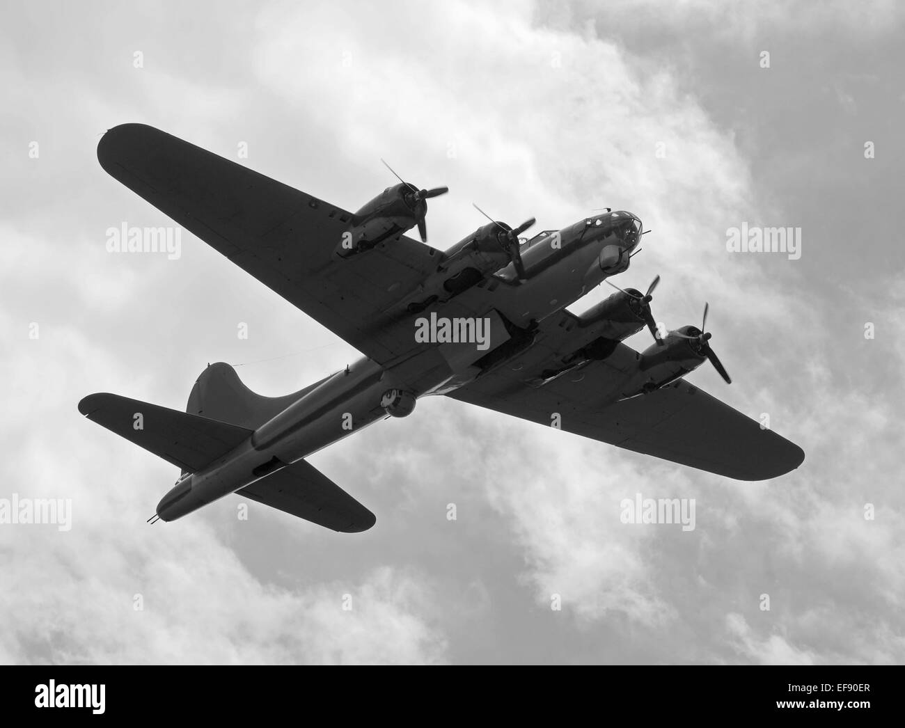 World War II era heavy bomber on a mission B-17 Flying fortress - Stock Image