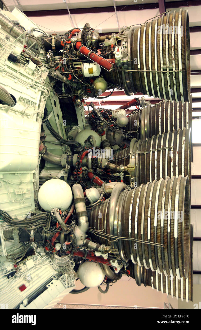 Cluster of giant rocket engines prepared for flight - Stock Image