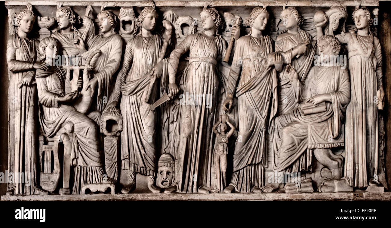 Muses and Poets. Sarcophagus relief. Octagonal Courtyard  Pio Clementino ( Vatican Museum Rome Italy ) - Stock Image