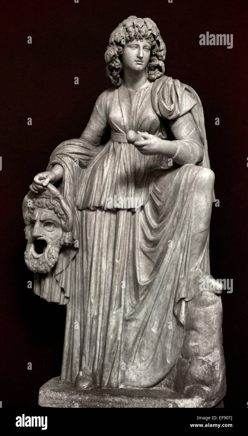 Melpomene, Muse of tragedy. Marble, Roman artwork from the 2nd century CE. Vatican Museum Rome Italy - Stock Image