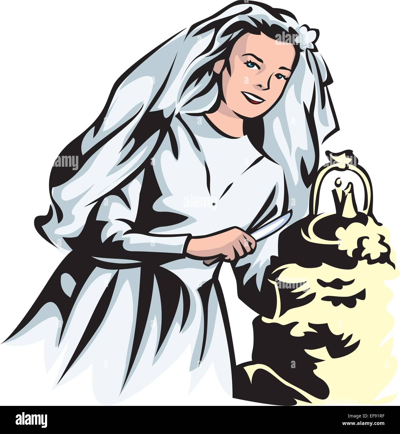 A bride cutting her cake - Stock Vector