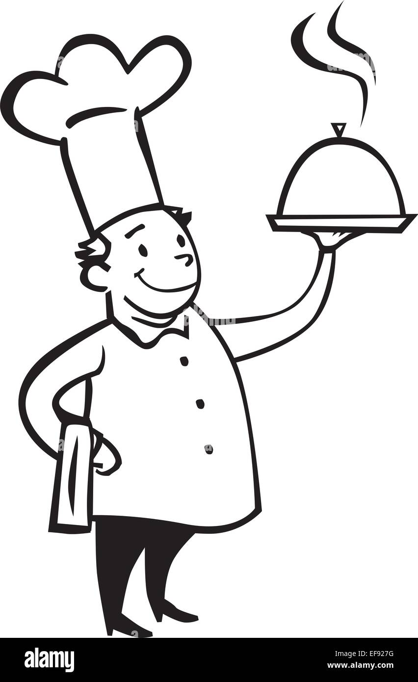 A chef holding a dish - Stock Image