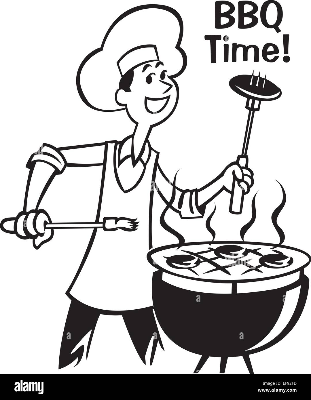 A man barbecuing with the words BBQ Time! written above it - Stock Vector
