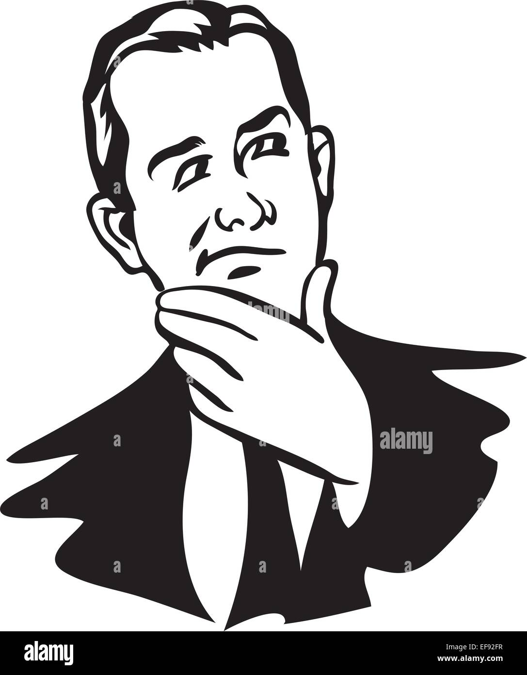 A man thinking with his hand on his chin - Stock Vector