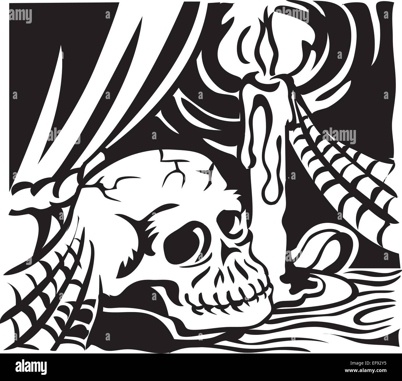 A skull sitting under a candle - Stock Vector