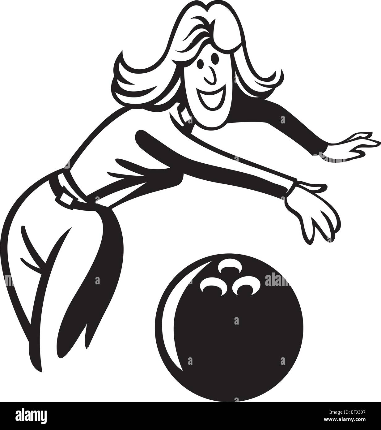 A woman bowling - Stock Vector
