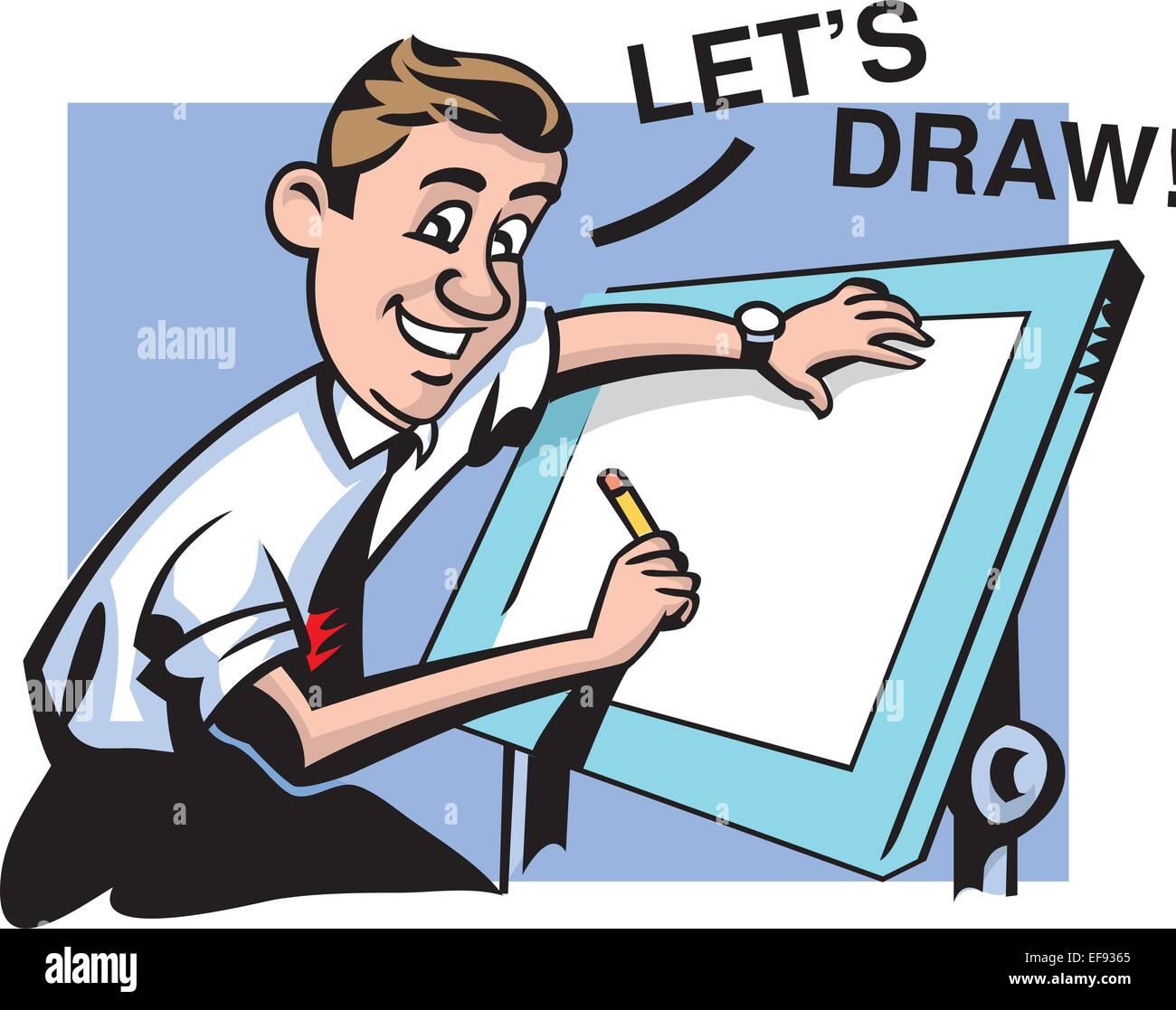 Man Drawing at Drafting Table - Stock Vector