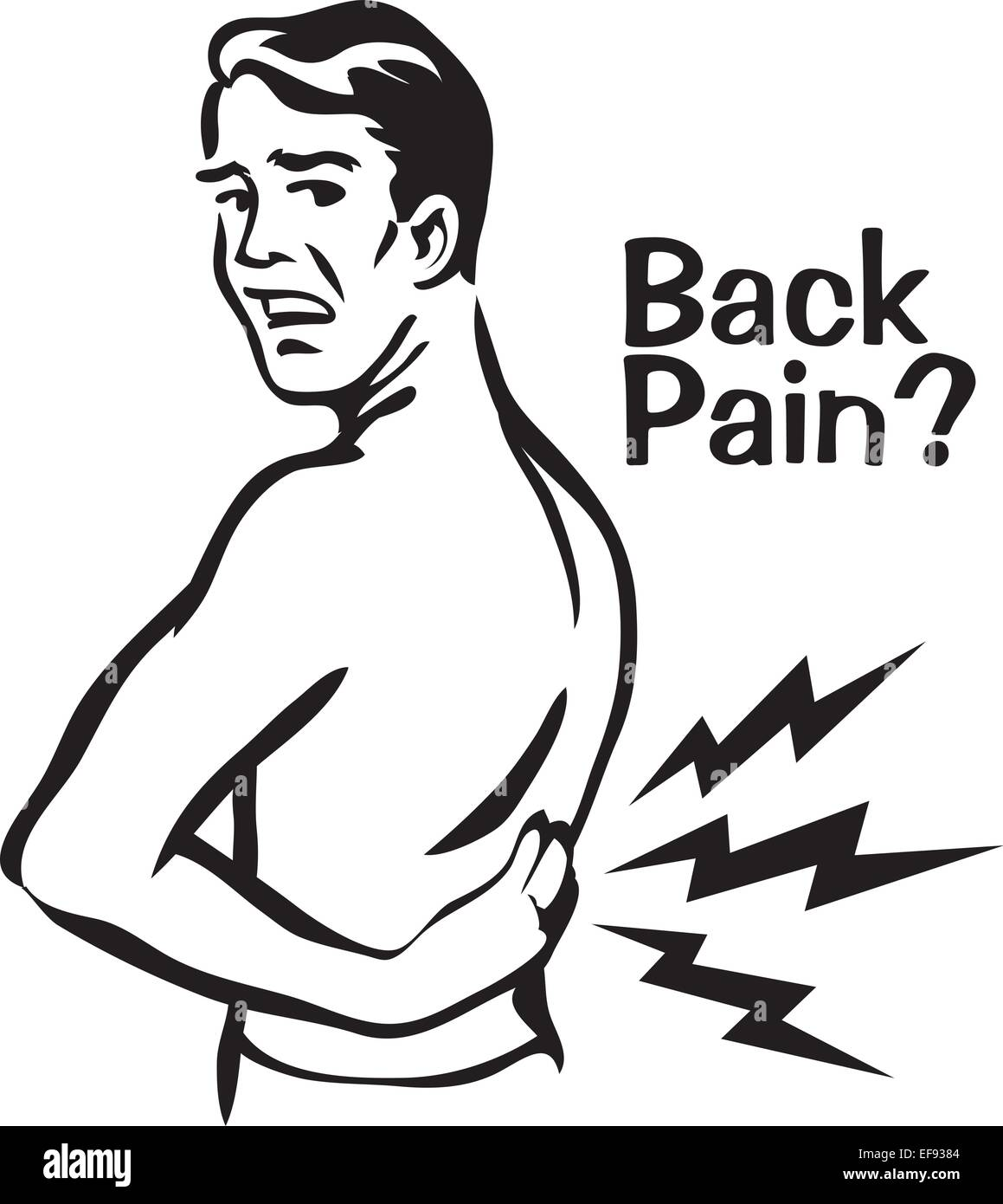 Man Suffering From Back Pain - Stock Image
