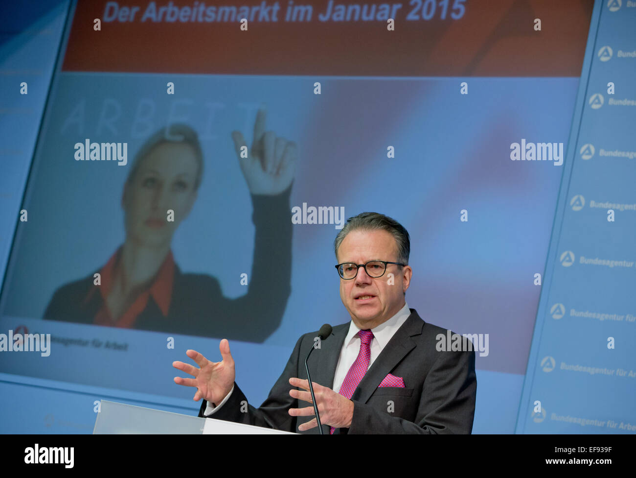 Chairman of the German Federal Employment Agency Frank-Juergen Weise speaking at a press conference regarding developments - Stock Image