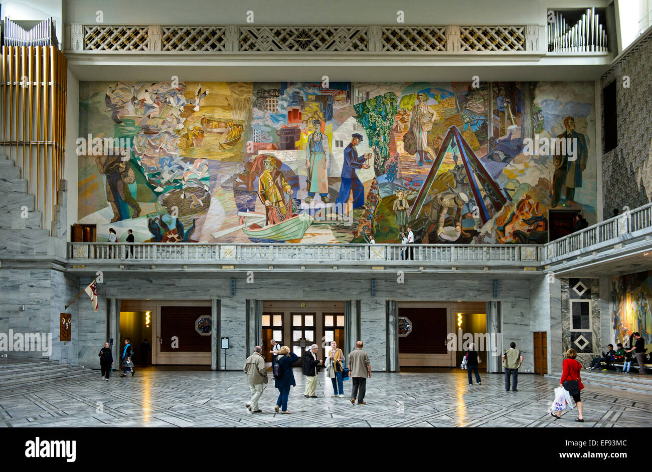 "Mural""Folket i arbeid og fest"" by Alf Rolfsen at the North wall of the Central Hall of the Oslo City Hall, Oslo, Stock Photo"
