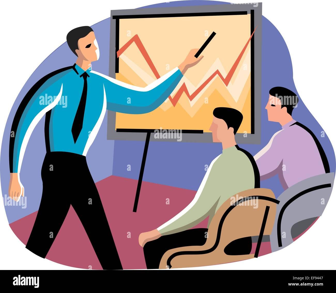 Man Giving Business Presentation - Stock Vector