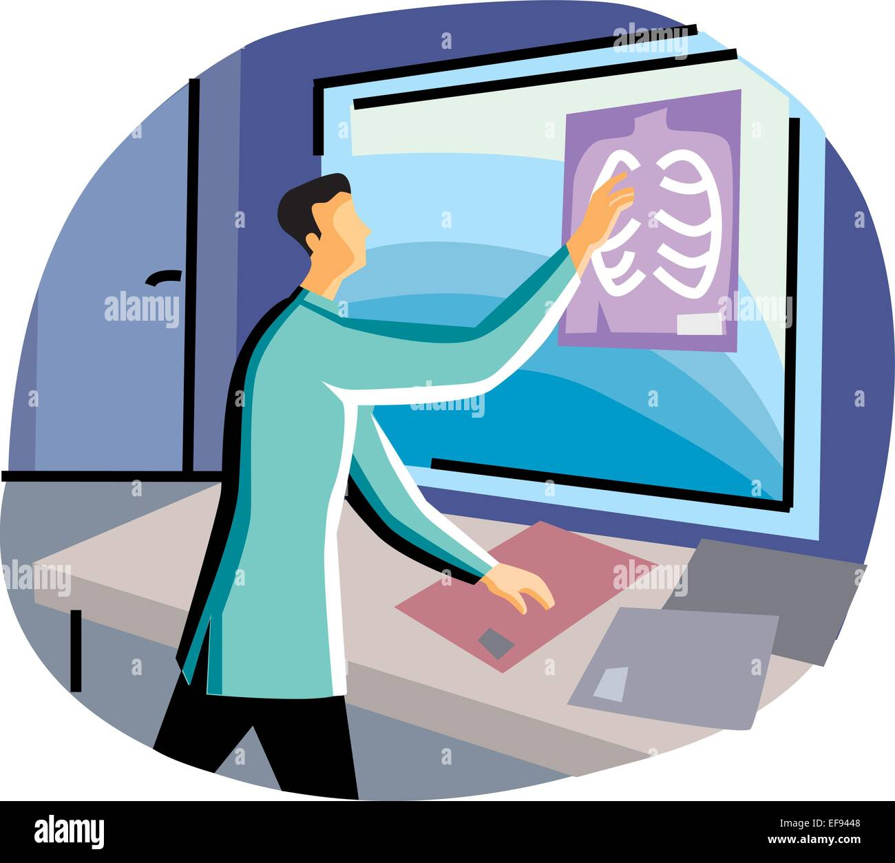 Doctor Examining X-Ray - Stock Vector