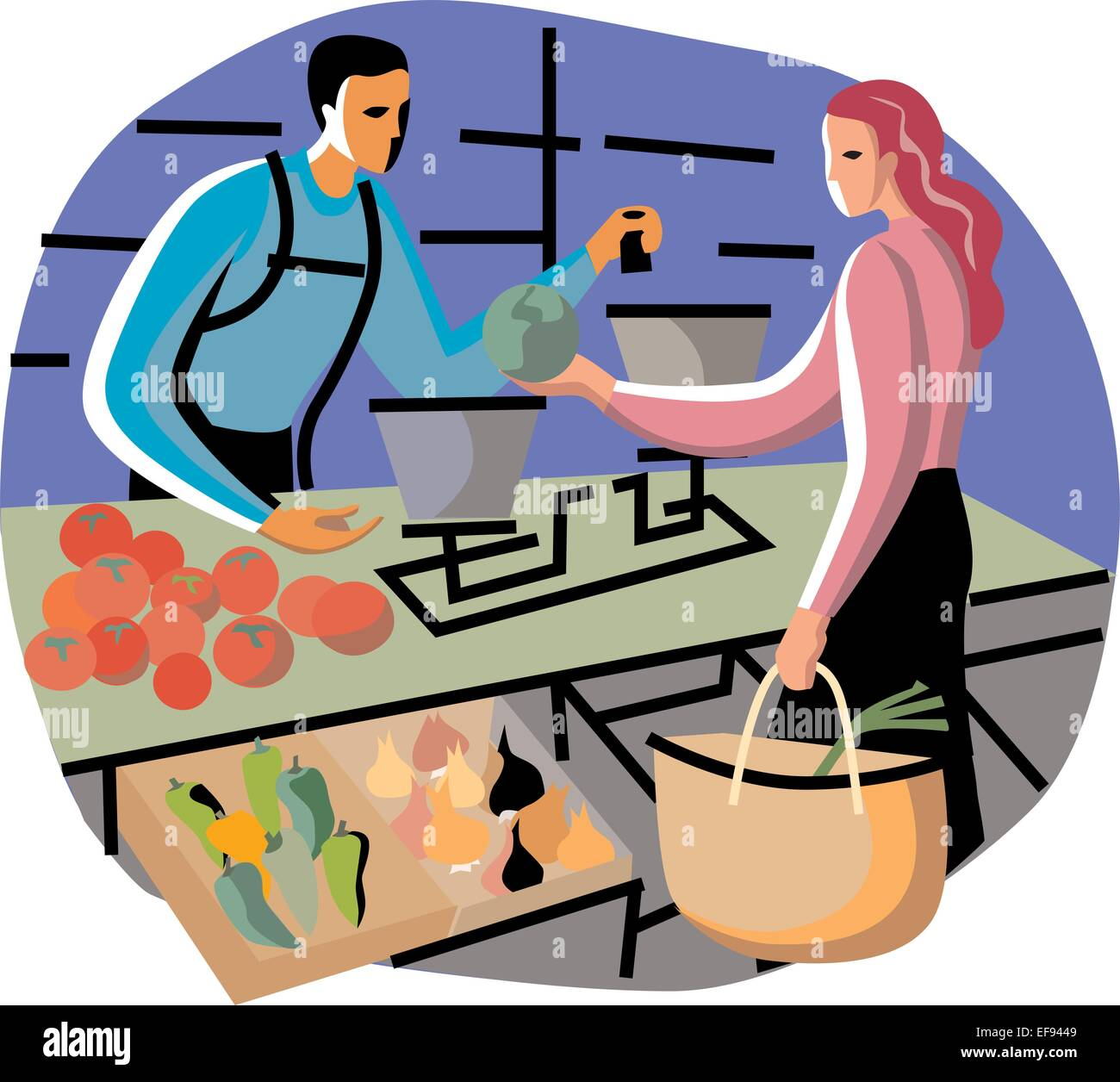 Woman Buying Produce - Stock Vector