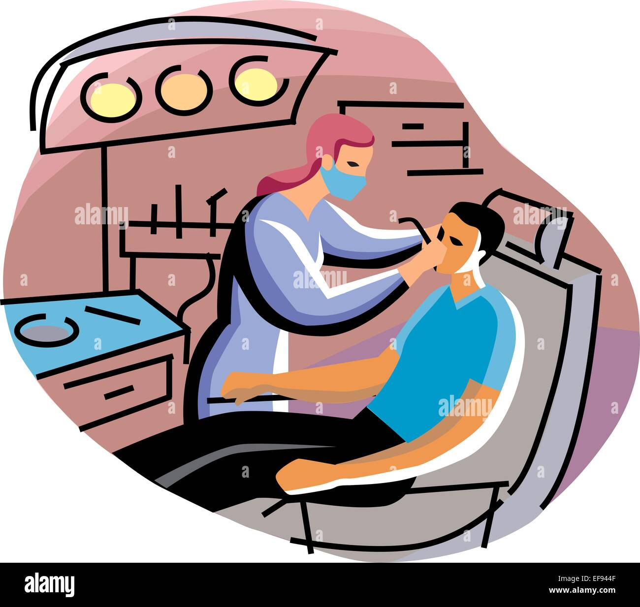 Dentist Examining Man - Stock Image