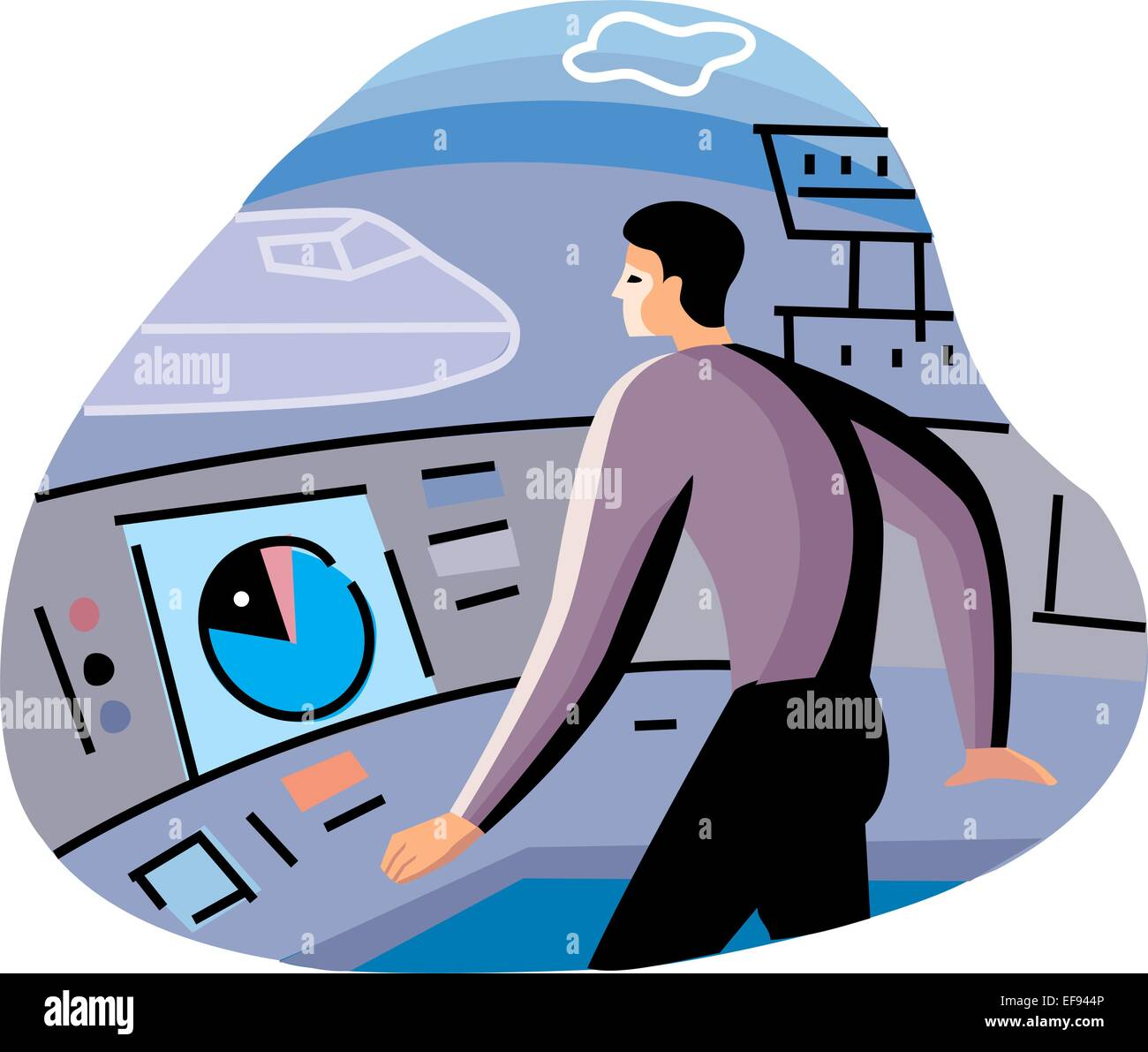 Air Traffic Controller - Stock Vector