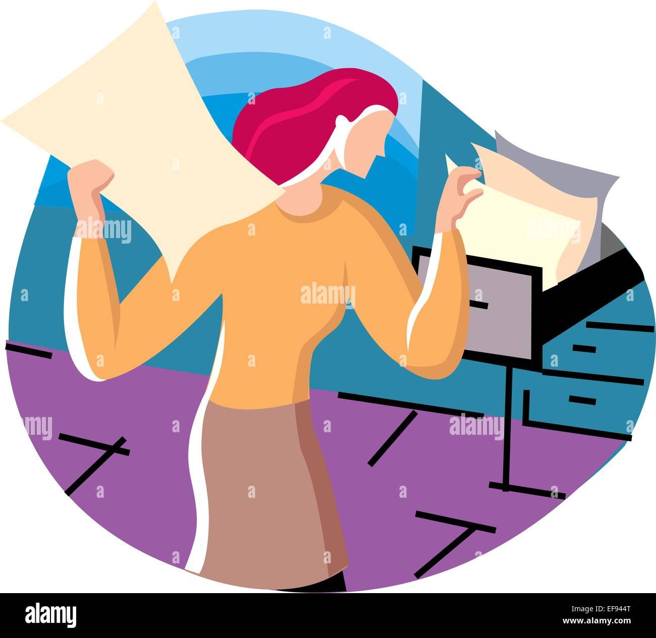 Woman Sorting Files - Stock Vector