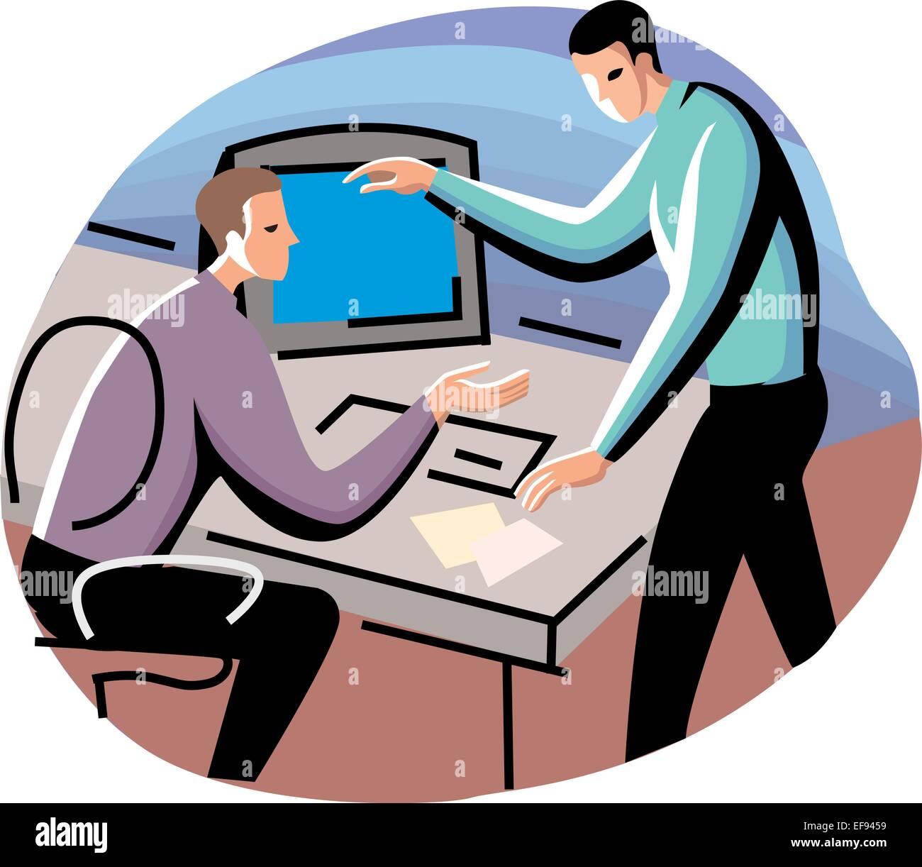 Two Men in Business Meeting - Stock Vector
