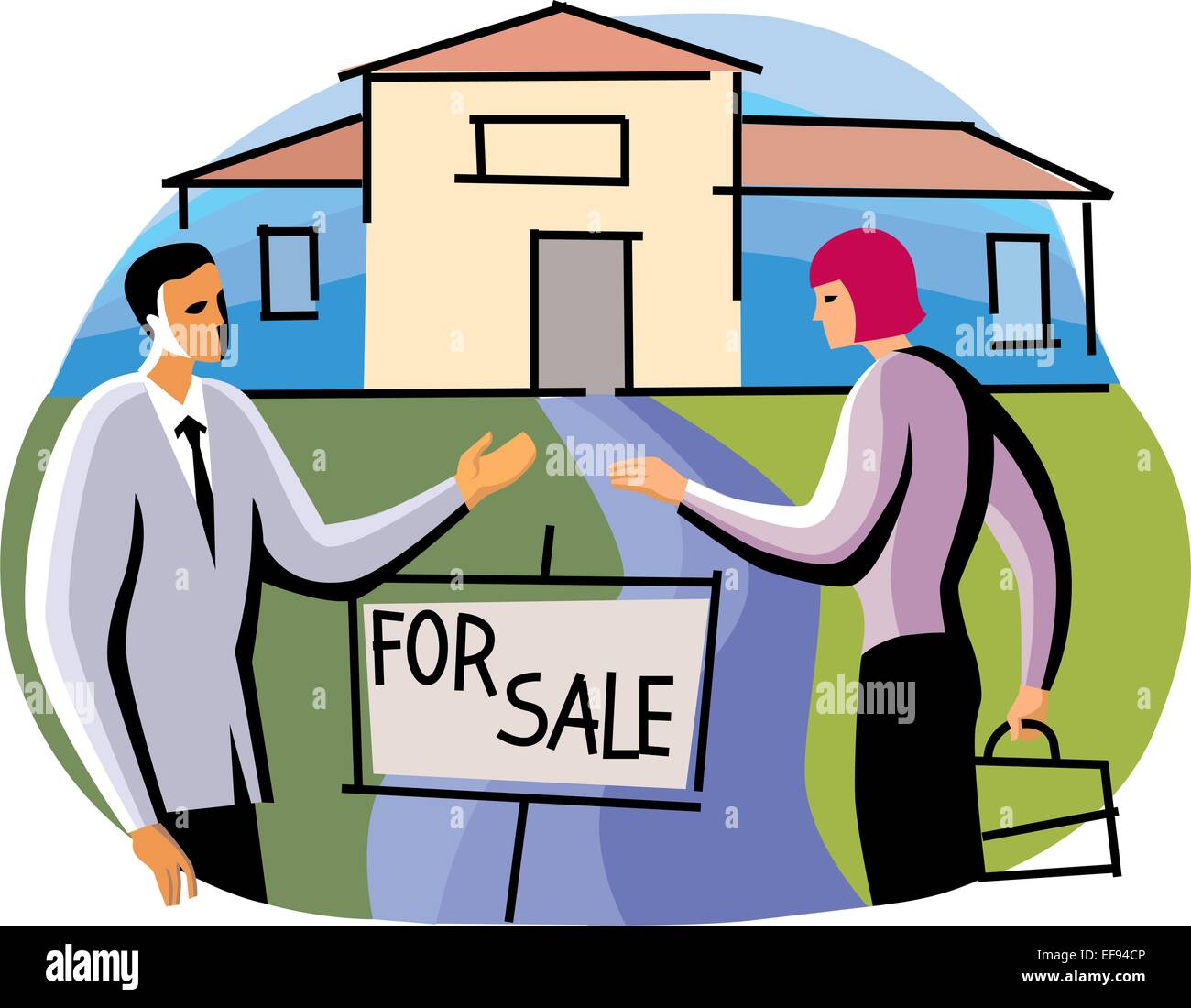 Real Estate Agents Selling House - Stock Vector