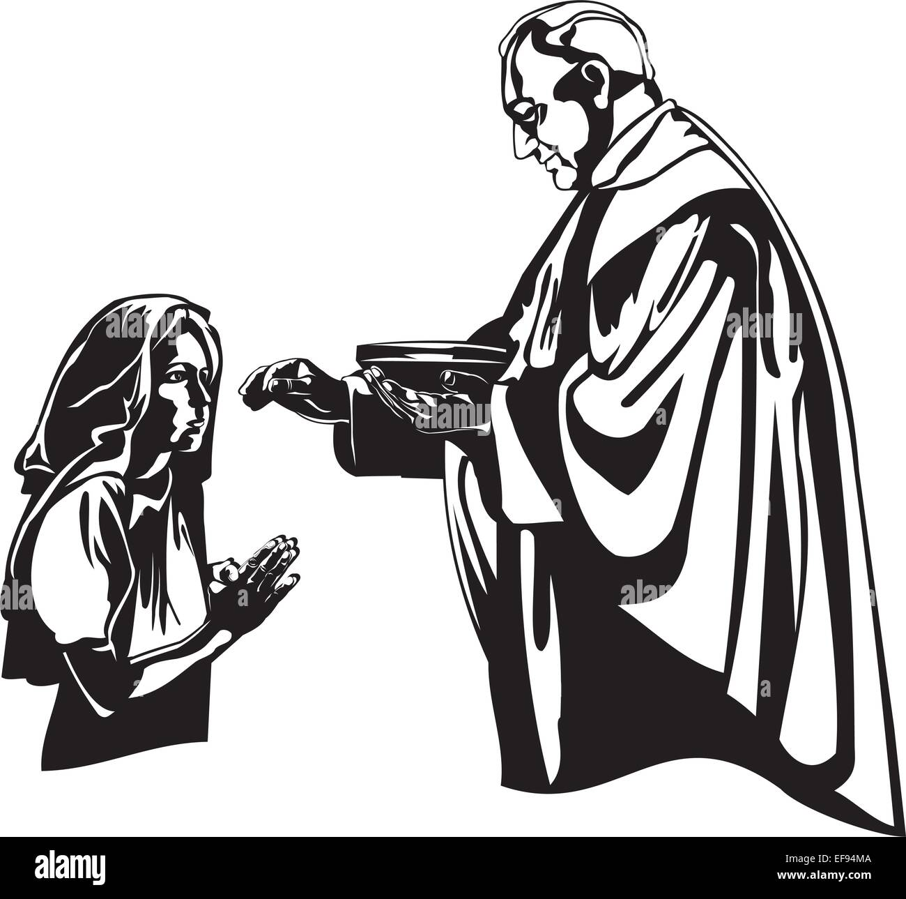 Priest Giving Eucharist To Girl - Stock Vector