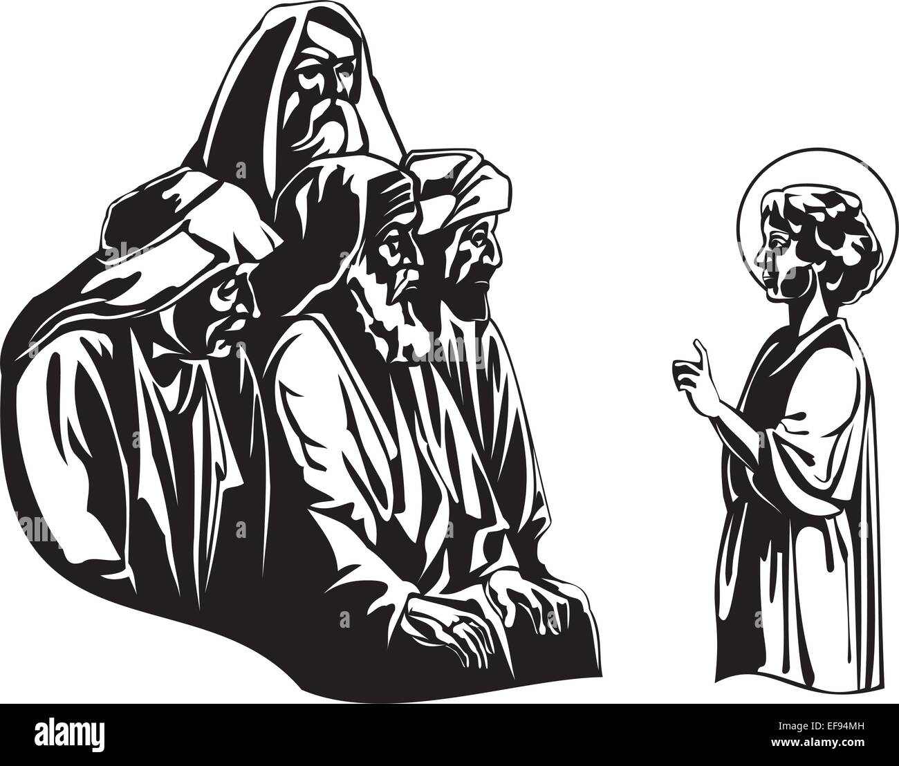 Jesus Teaching Rabbis - Stock Vector