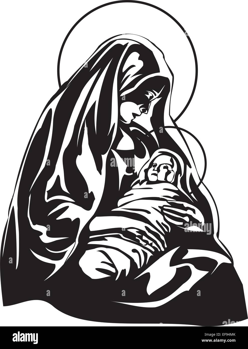 Mary Holding Baby Jesus - Stock Vector