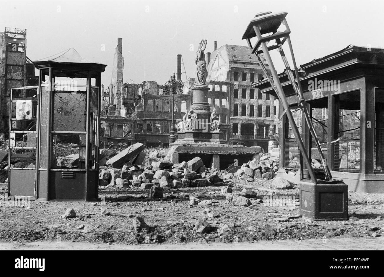 The photo by famous photographer Richard Peter sen. shows the destructions on the Altmarkt in Dresden with the damaged Stock Photo