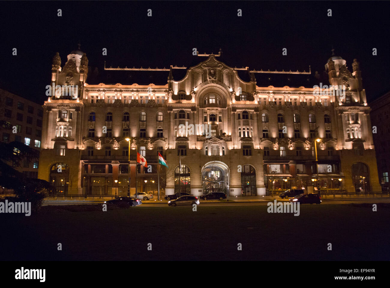 Four Seasons Hotel The Gresham Palace (Gresham-palota) art nouveau neo classical architecture by night in Budapest Stock Photo
