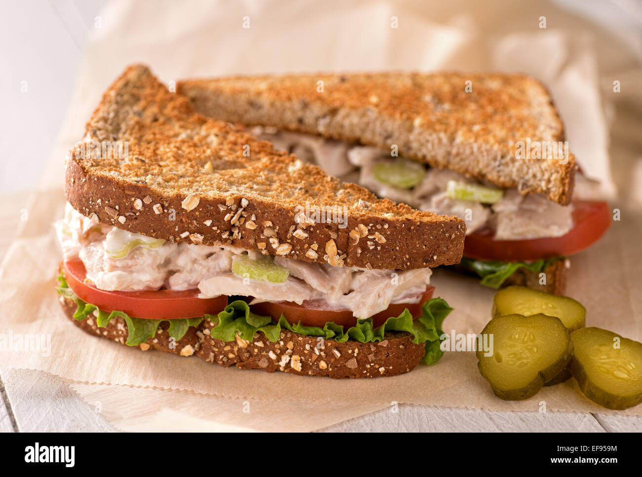 A delicious flaked white tuna salad sandwich with tomato, lettuce, mayonnaise, and pickles. - Stock Image