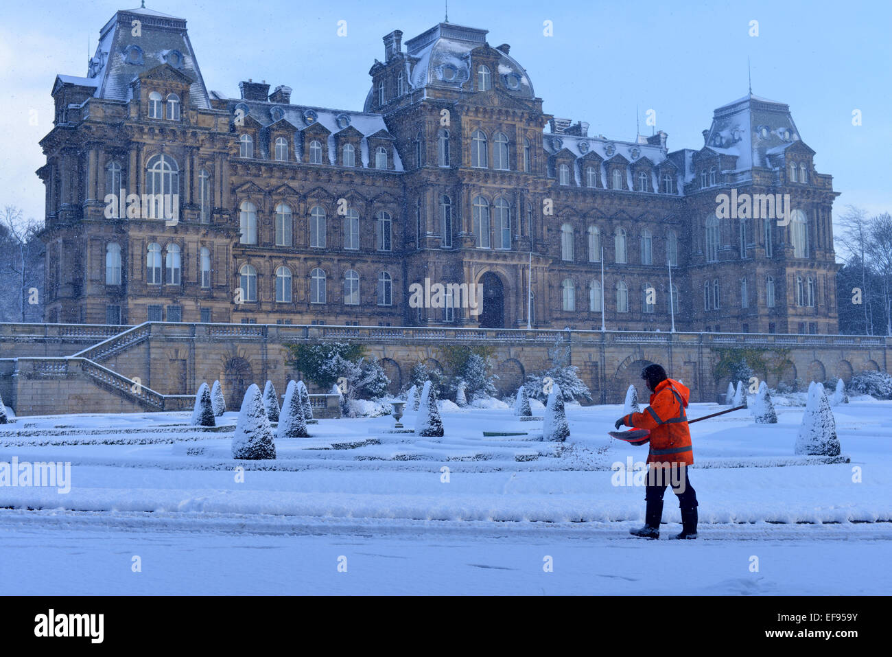 Council Workman Clearing Access Routes Of Snow At Bowes Museum Stock