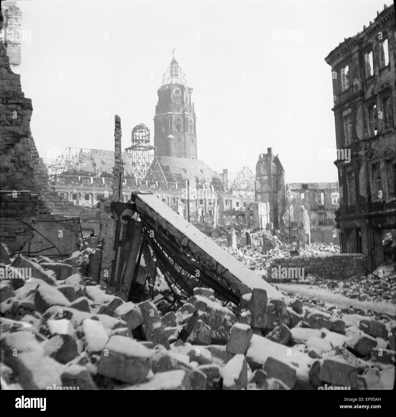 The photo by famous photographer Richard Peter sen. shows the view from South West to the ruins of the New City Stock Photo
