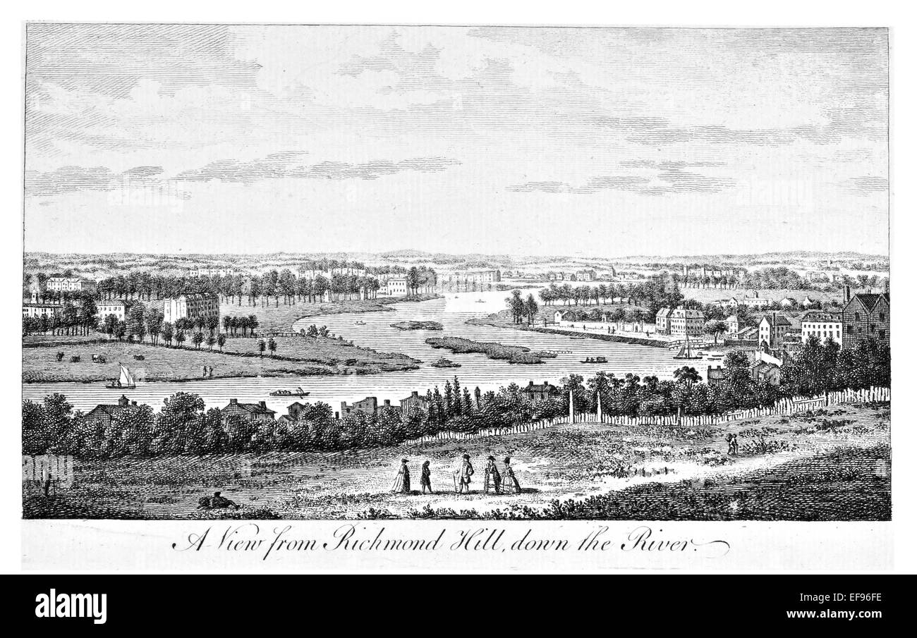 Copper engraving 1776 Landscape Beauties England Most Elegant magnificent  public Edifices.View Richmond hill of - Stock Image