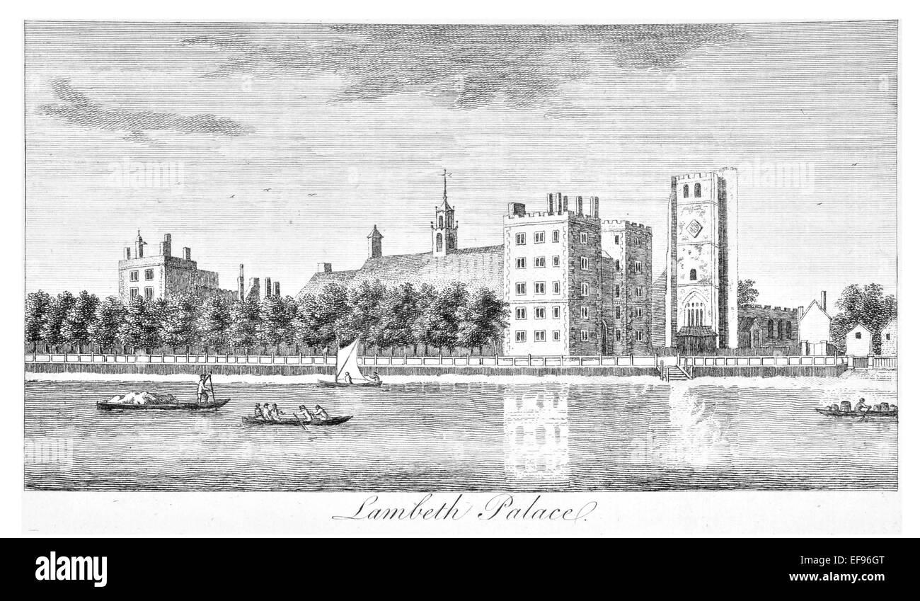 Copper engraving 1776 Landscape Beauties England Most Elegant magnificent  public Edifices. Lambeth Palace River - Stock Image