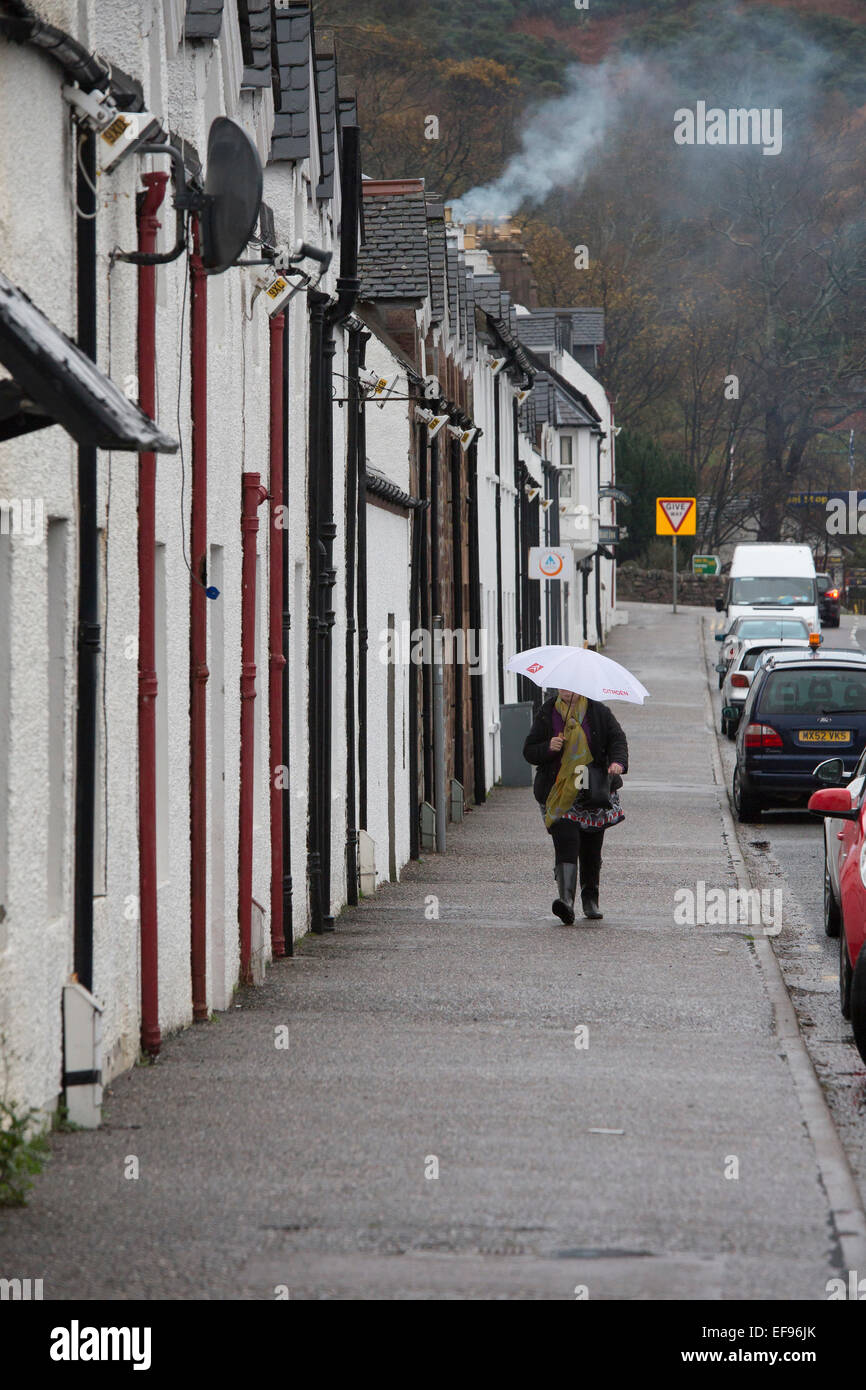 Ullapool on a wet grey day - Stock Image