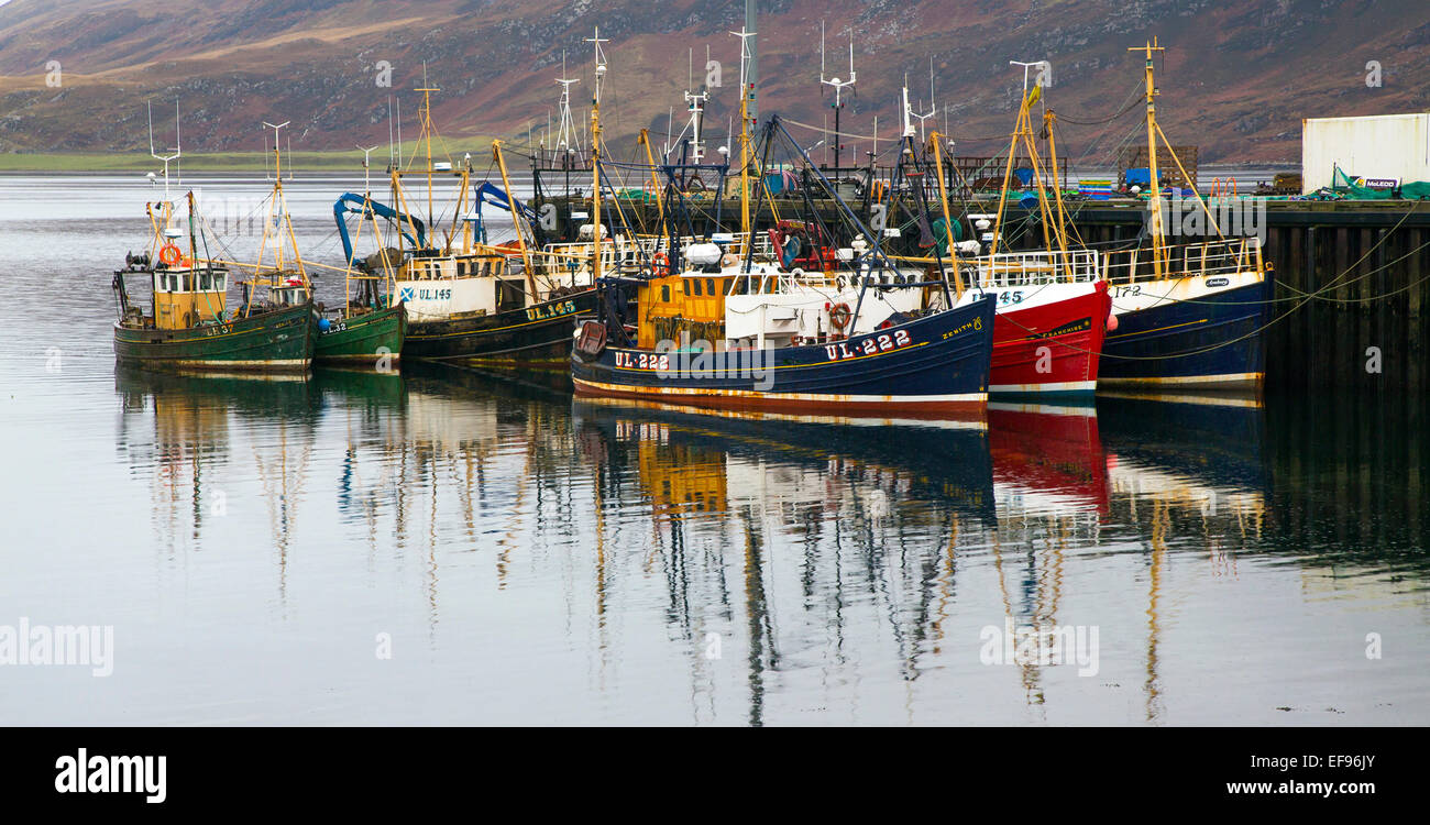 Ullapool Harbour on a grey day - Stock Image