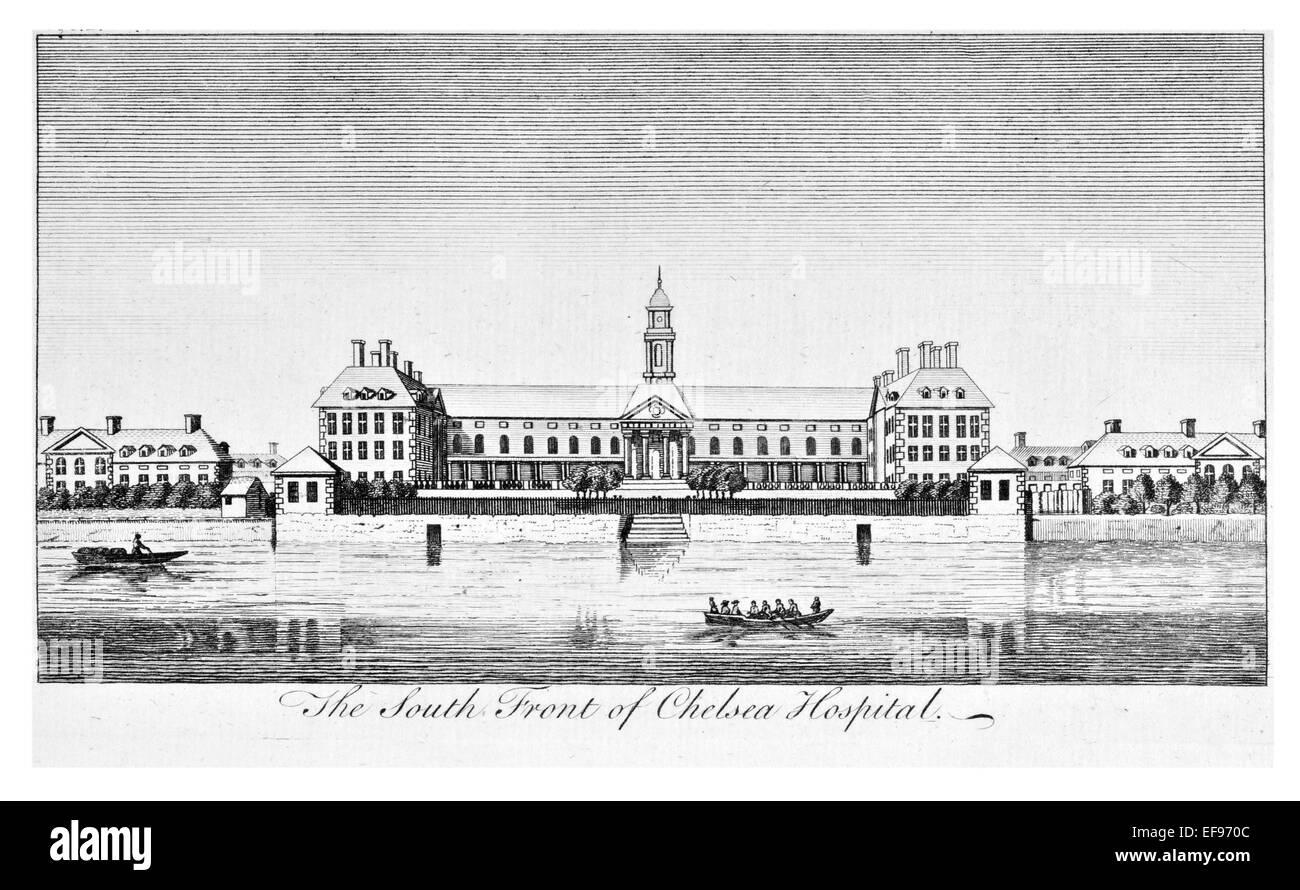 Copper engraving 1776 Landscape Beauties England Most Elegant magnificent  public Edifices.south front Chelsea Hospital - Stock Image