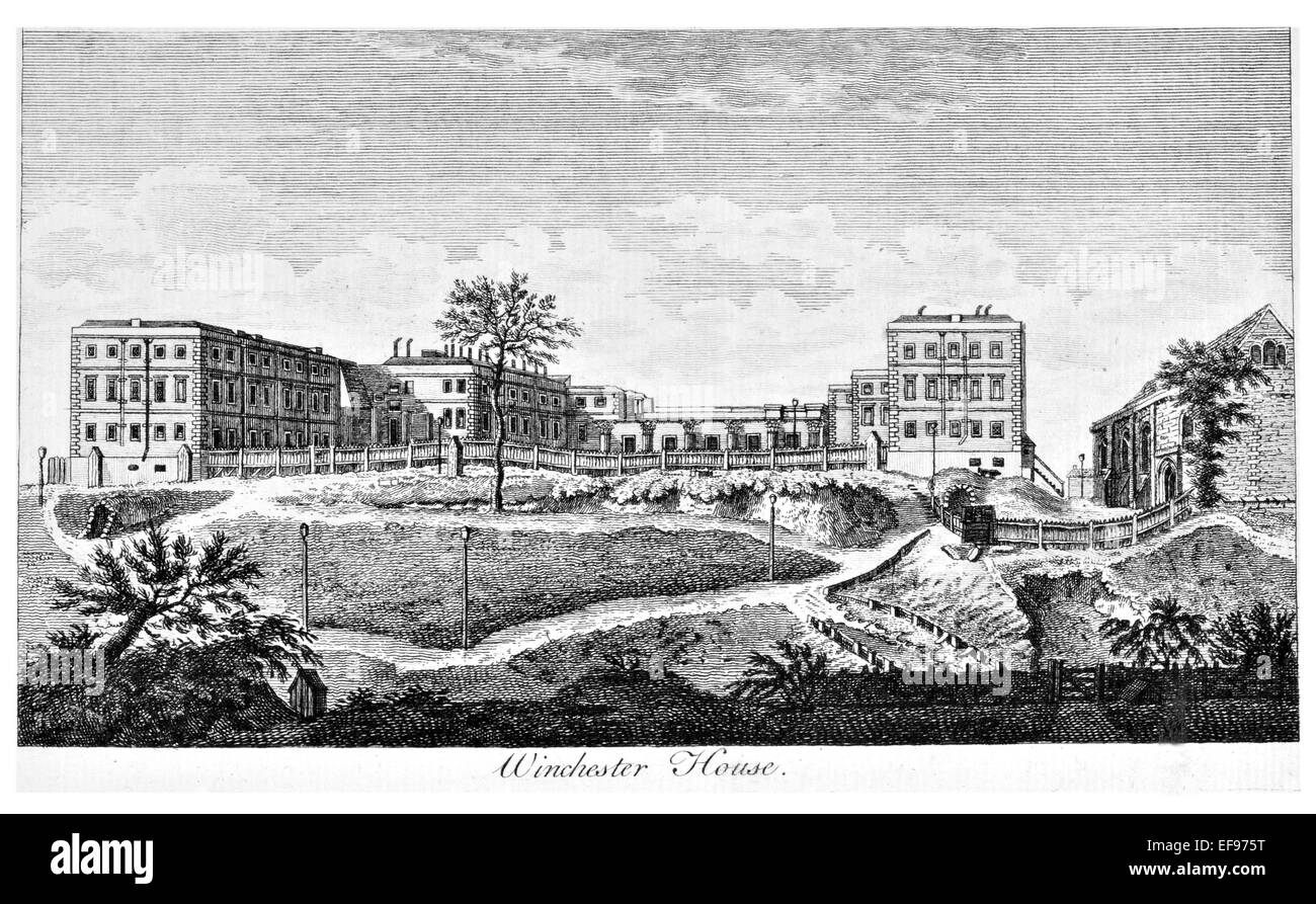 Copper engraving 1776 Landscape Beauties England Most Elegant magnificent  public Edifices Winchester house.King - Stock Image