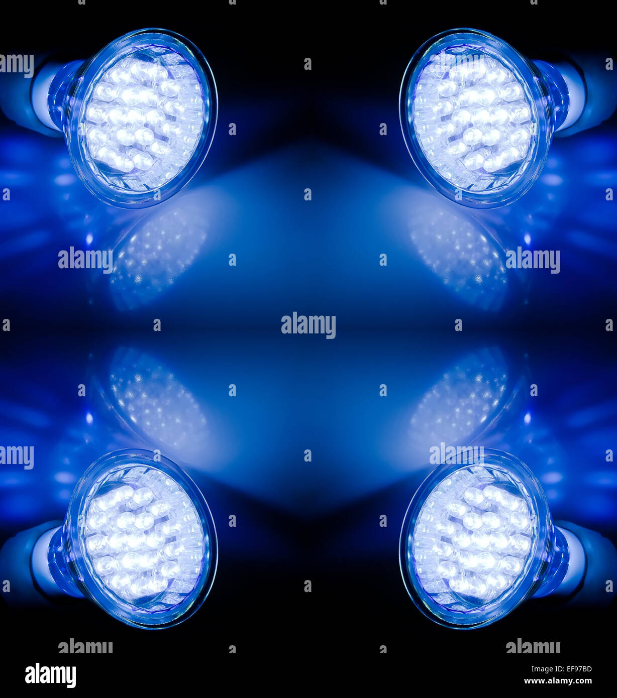 Blue beams of two led lamps - Stock Image
