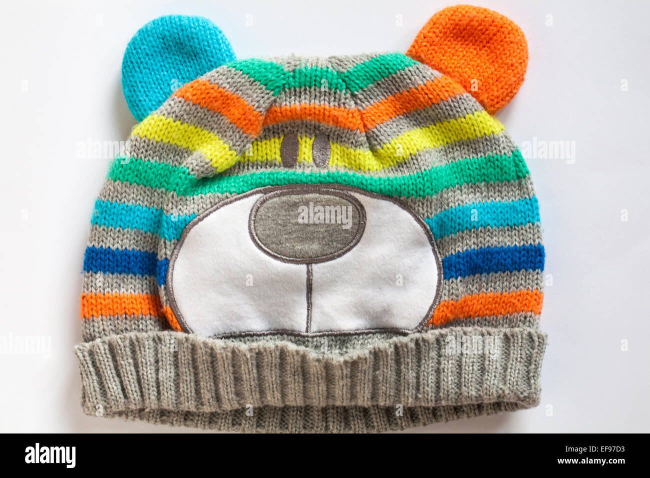 animal hat on white background - Stock Image