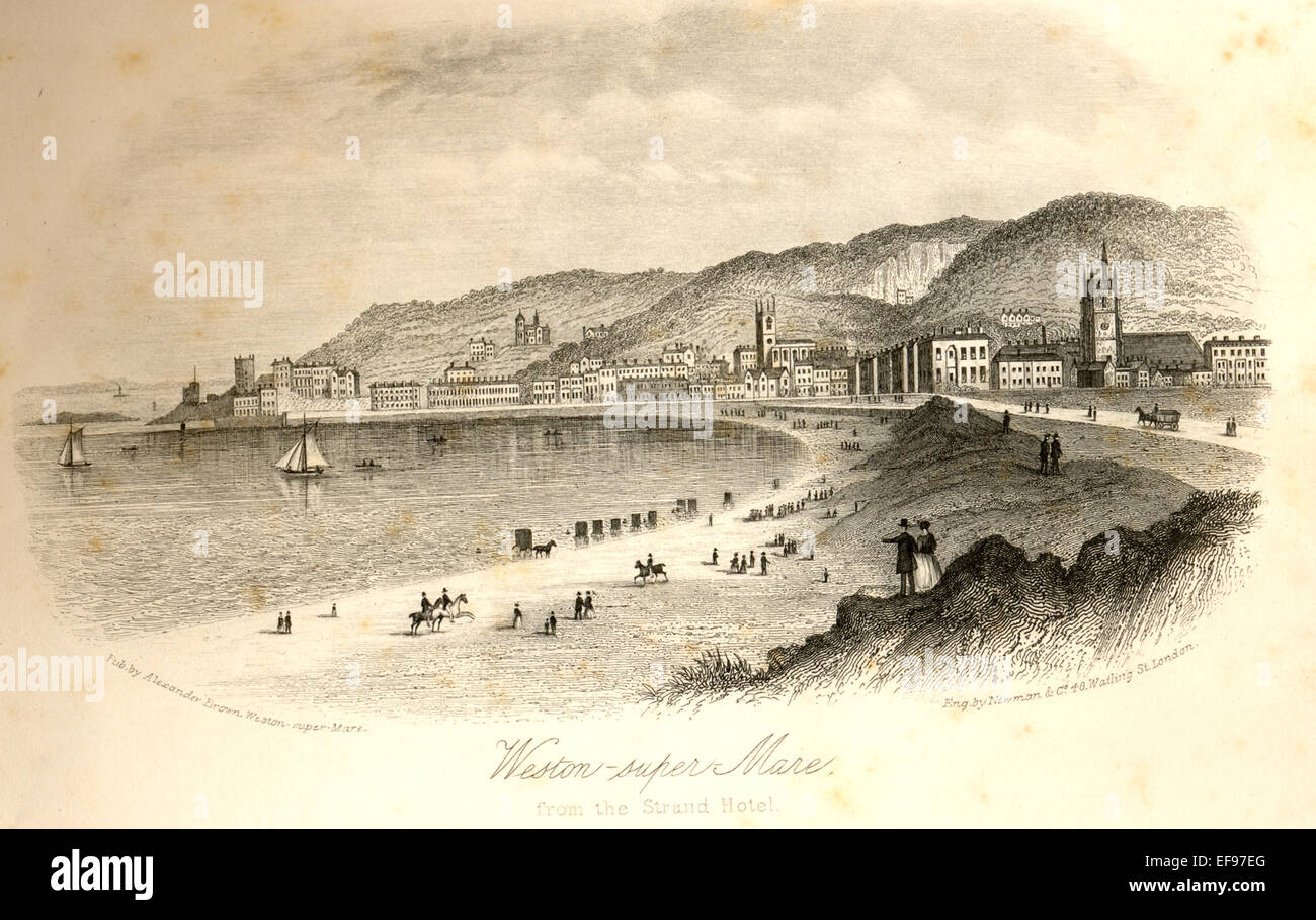 Engraving of  Weston-super-Mare from the Strand Hotel, Stock Photo