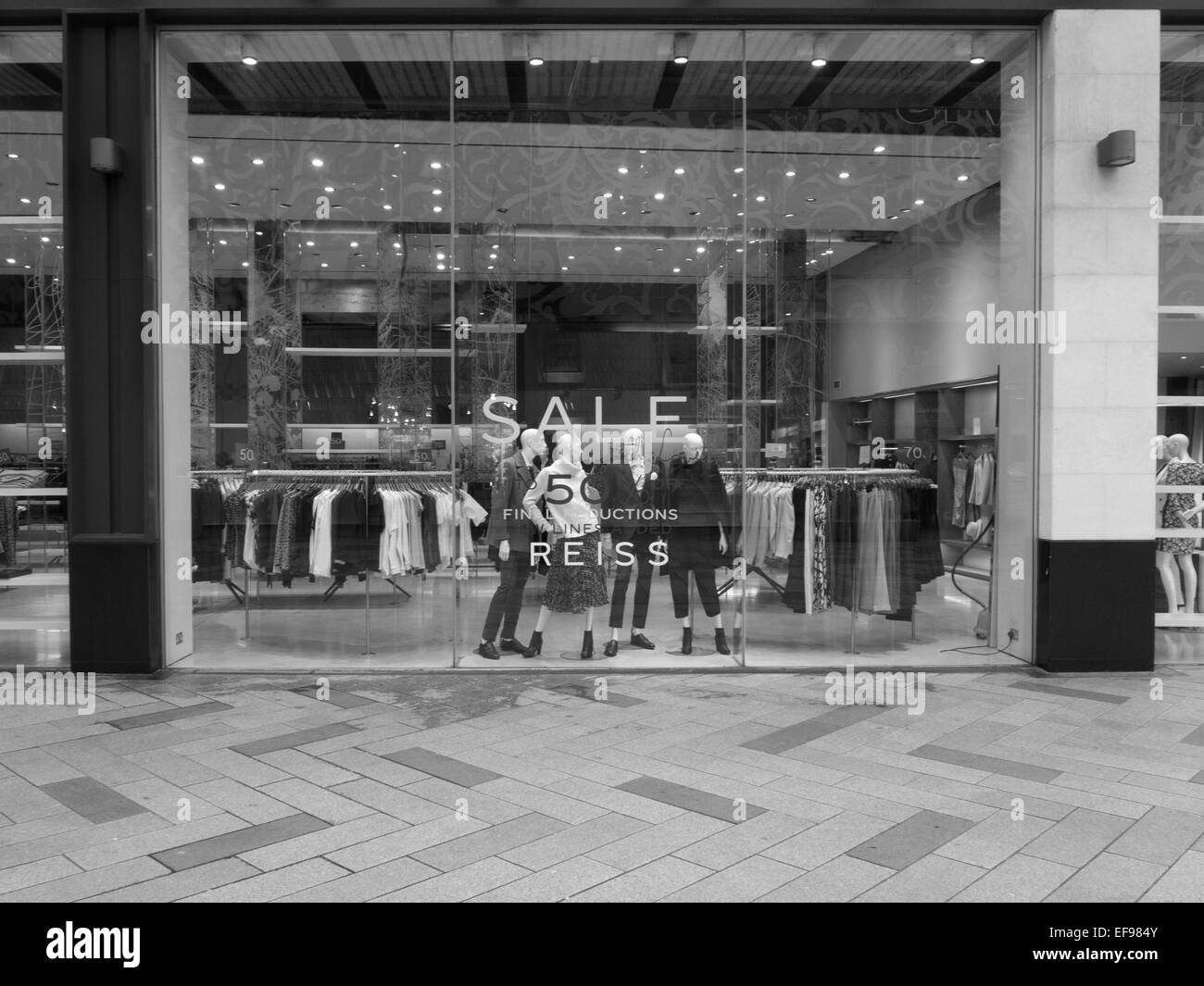 REISS store shop frontage, HIGHCROSS SHOPPING CENTRE LEICESTER, UK. on 22nd JANUARY 2015 from BATH HOUSE STREET. - Stock Image
