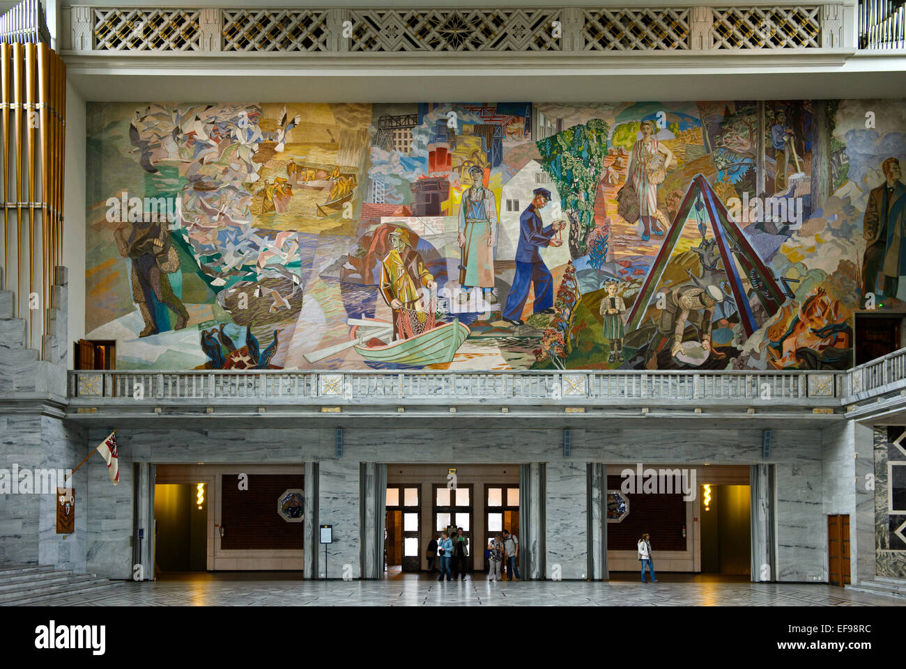 Mural'Folket i arbeid og fest' by Alf Rolfsen at the North wall of the Central Hall of the Oslo City Hall, - Stock Image