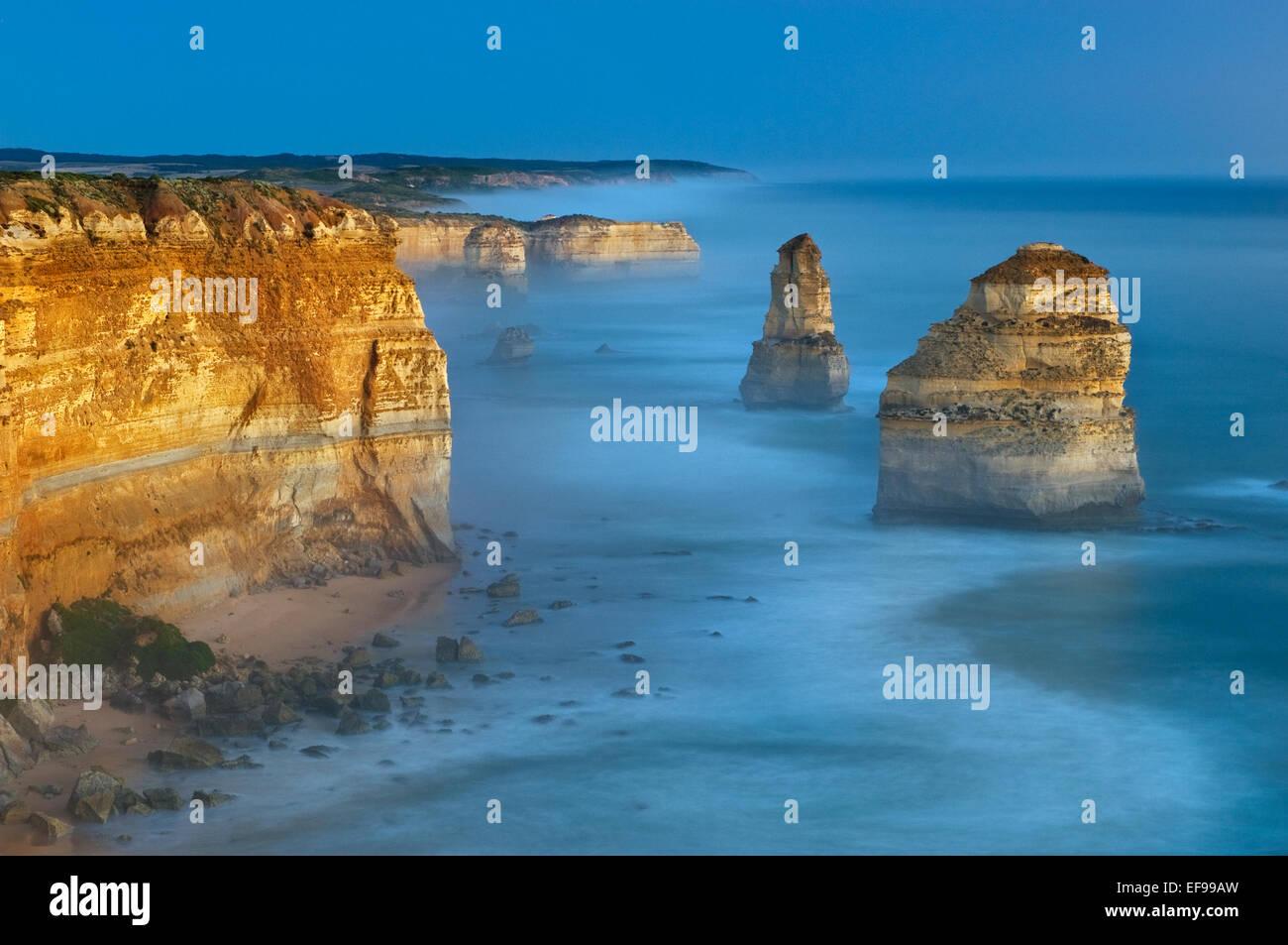Twelve Apostles in afterglow. - Stock Image