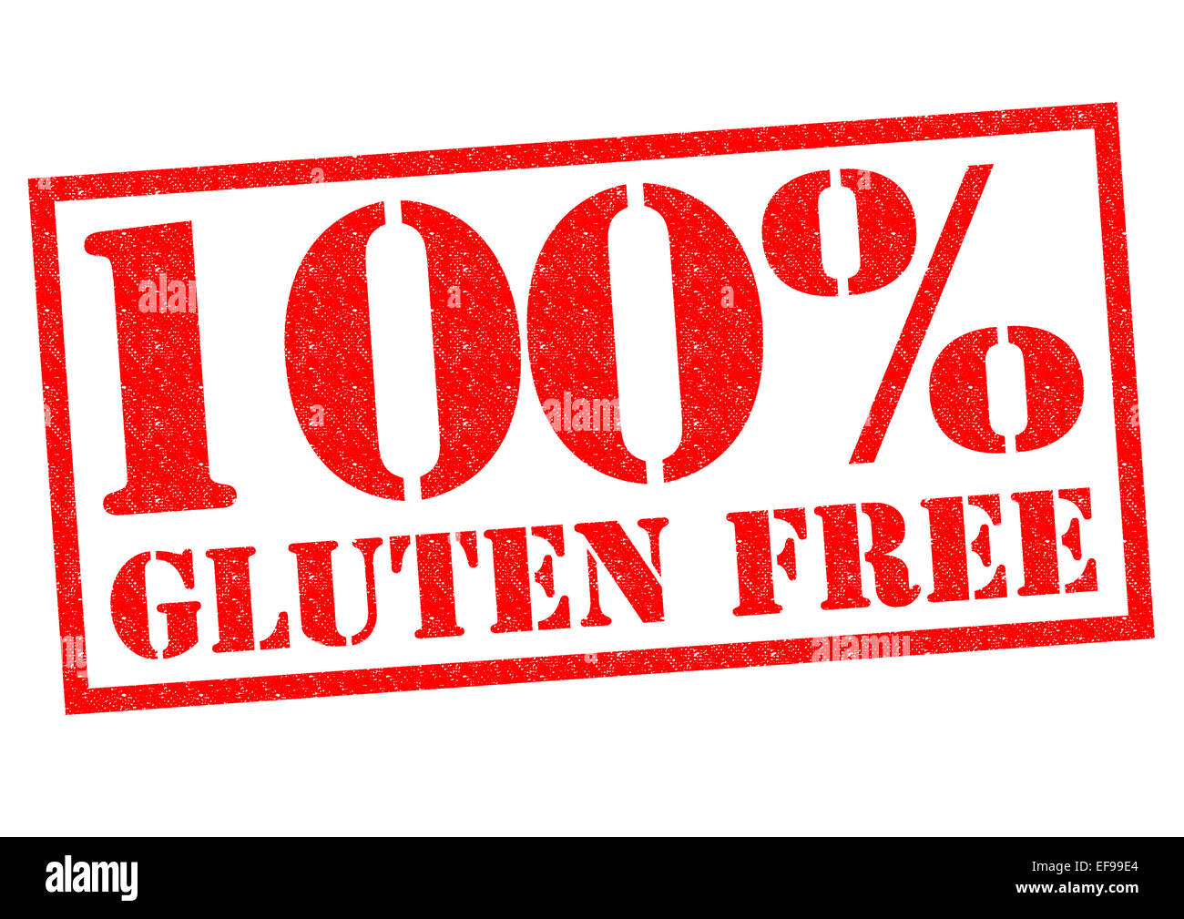 100% GLUTEN FREE red Rubber Stamp over a white background. - Stock Image