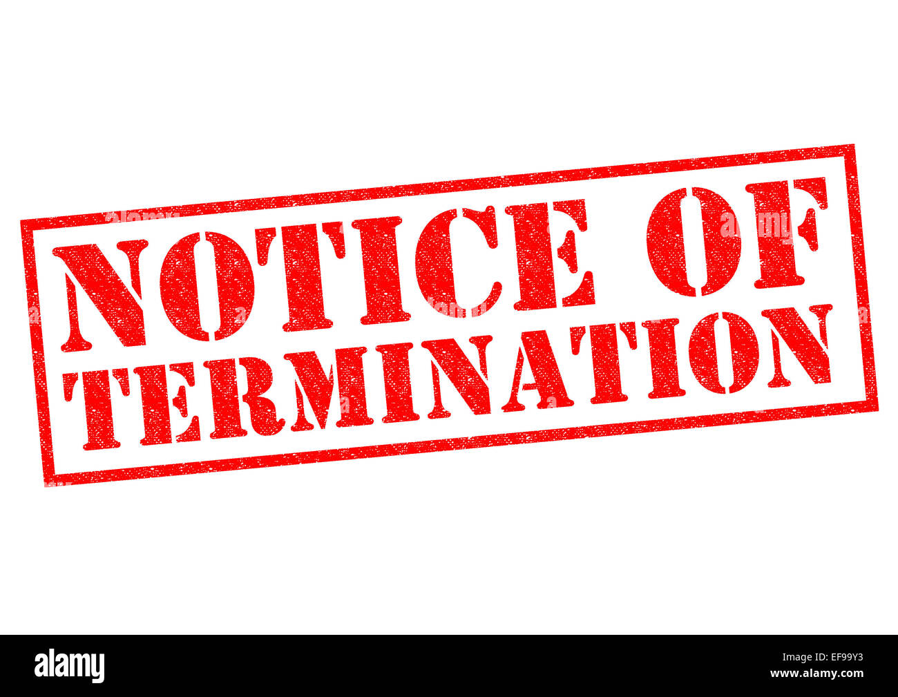 NOTICE OF TERMINATION red Rubber Stamp over a white background. - Stock Image