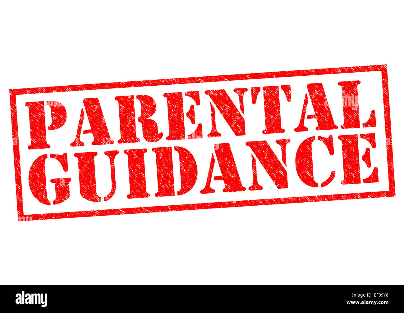 Parental Guidance Red Rubber Stamp Over A White Background Stock