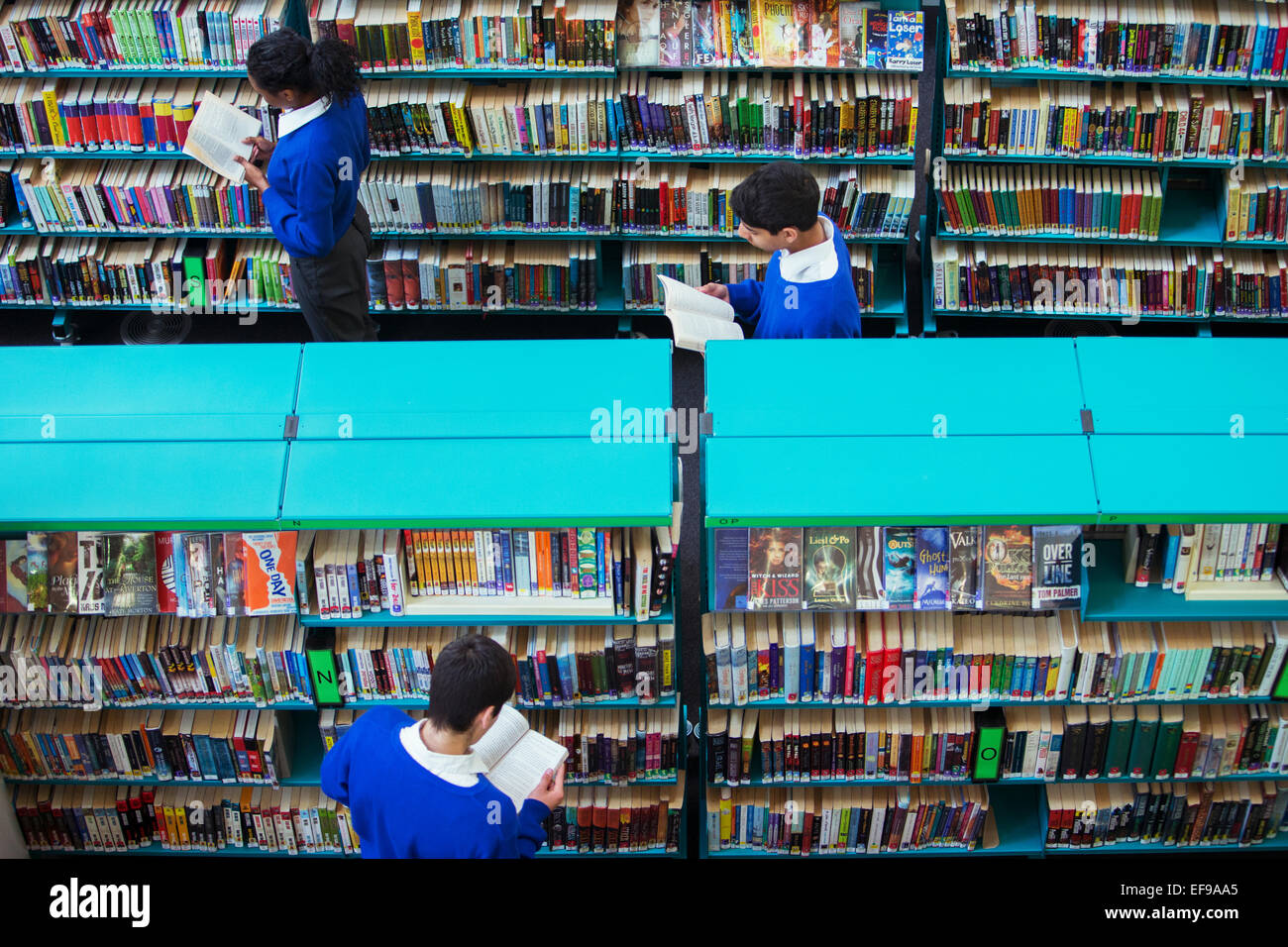 Elevated view of high school students browsing books in library - Stock Image